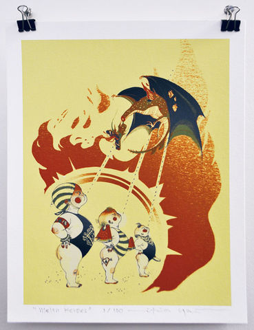 Melon,Heroes,Victo Ngai, limited edition giclee print, babies, watermelons, children