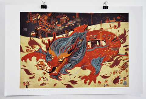 The,Red,Highway,Victo Ngai, limited edition giclee print, dragon, China, highway