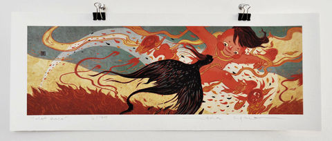 The,Hot,Race,Victo Ngai, limited edition giclee print, legend, children, bird, flame