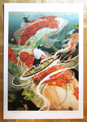 Koi,Dance,Victo Ngai, openedition giclee print, koi, fish, asian, decorative