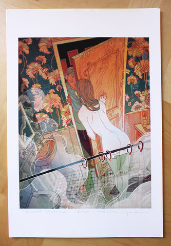 Sweet,Dreams,Victo Ngai, limited edition giclee print, romance, bathroom, sexual, sexy, nude, naked
