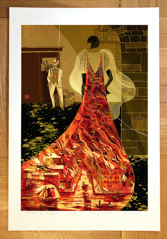 Shades,Victo Ngai, limited edition giclee print, 1920s, Chicago, frapper, mafia, mystery, fire, burning city