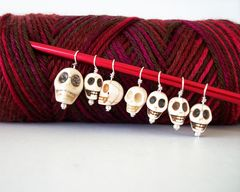 Goth,Skulls,Knitting,Stitch,Markers,Set,of,7,White,Bone,Knitting_Supplies,Stitch_Markers,goth_knitter,goth_knitting,skulls,stitch_marker,knit_stitch_marker,knitting_marker,set_of_7,row_marker,howlite,faux_turquoise,skull_stitch_markers,bone_white,headpins,howlite_beads,skull_beads