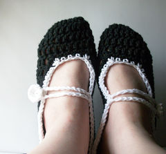 Custom,Cotton,Mary,Jane,Style,Slippers,Choose,Colors,Sizes,Clothing,Shoes,mary_janes,custom,made_to_order,slippers,women,crochet,handmade,cotton,button,loop,teamapril,custom_slippers,mary_jane_slippers,cotton_yarn