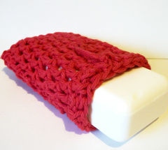 Crochet,Soap,Saver,Sack,Red,100%,Cotton,Drawstring,Bag,Bath_and_Beauty,Skin_Care,soap_saver,soap_sack,cotton,bathroom,bath,scrubbie,washcloth,scrub,red,drawstring bag,crochet_soap_saver, cotton soap saver, red soap saver
