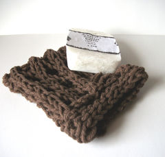Chocolate,Brown,Knit,Mesh,Soap,Saver,Cotton,Housewares,Bathroom,Soap_Dish,mesh,hand_knit,cotton,bathroom, mesh_soap_saver,white,soap_saver_bag,knit_soap_saver,knit_soap_sack,brown,chocolate_brown,dark_taupe,cotton_yarn