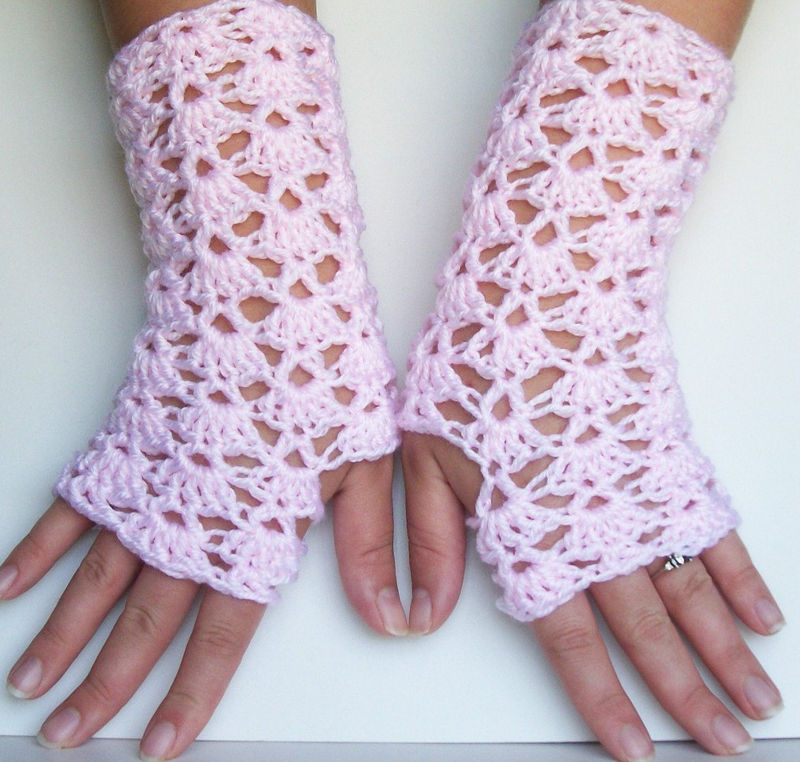 Light pink crochet lace fingerless gloves for texting and driving