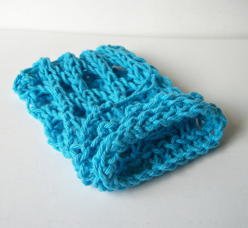 Blue Hand Knit Mesh Soap Saver Sack 100% Cotton - product images  of