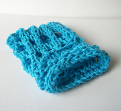 Blue Hand Knit Mesh Soap Saver Sack 100% Cotton - product images 1 of 5
