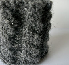 Hand Knit Cable Bracelet Charcoal Gray Wool Wrist Band Coffee Cup Cozy - product images 1 of 5