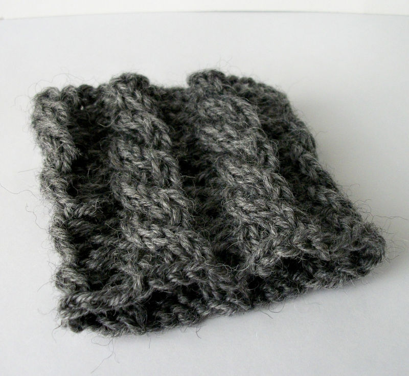 Hand Knit Cable Bracelet Charcoal Gray Wool Wrist Band Coffee Cup Cozy - product images  of