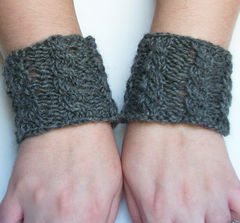 Hand Knit Cable Bracelet Charcoal Gray Wool Wrist Band Coffee Cup Cozy - product images 5 of 5