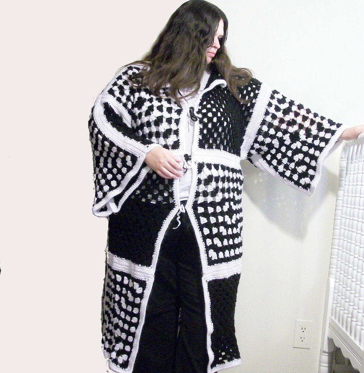 plus size sweater jacket coat black and white granny square $ 190 ties