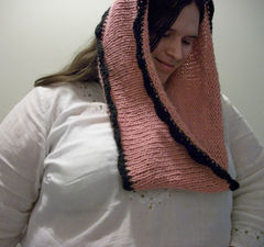 Hand Knit Oversized Cowl In Pink With Black Crochet Trim - product images 3 of 5