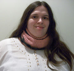 Hand Knit Oversized Cowl In Pink With Black Crochet Trim - product images 4 of 5