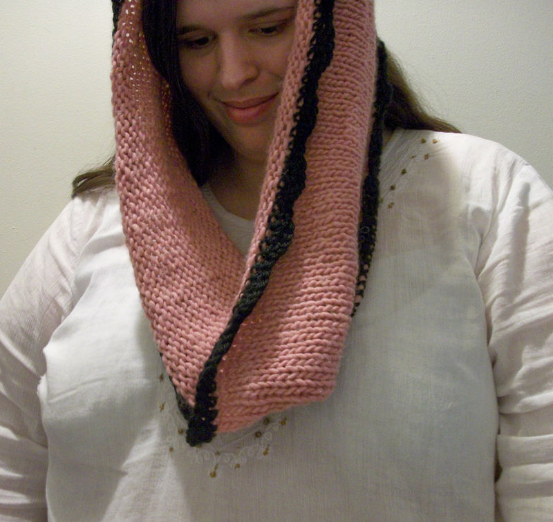 Hand Knit Oversized Cowl In Pink With Black Crochet Trim - product images  of