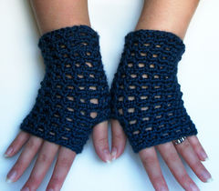 Blue,Mesh,Lace,Fingerless,Gloves,In,Navy,Handmade,crochet,accessories,gloves,fingerless_gloves,women,wristwarmers,wrist_warmers,handmade,lace,blue,navy_blue