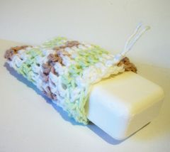 Crochet,Soap,Saver,Spring,Earth,Tones,White,Green,brown,crochet,housewares,wash_cloth,soap_saver,soap_sack,cotton,scrubbie,skin_care,bath_and_beauty,green,earth_tone,white