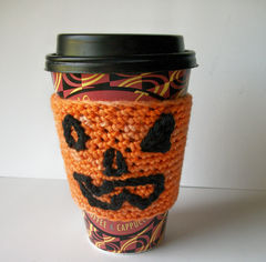 Jack,O,Lantern,Coffee,Cup,Cozy/,Wrist,Band,Orange,Black,Organic,Cotton,And,Bamboo,crochet,accessories,cuff,cozy,cup_cozy,cup_sleeve,eco_friendly,wrist_band,teamapril,black,orange,organic_cotton,bamboo,acrylic,halloween,acrylic_yarn,organic_cotton_bamboo_blend_yarn