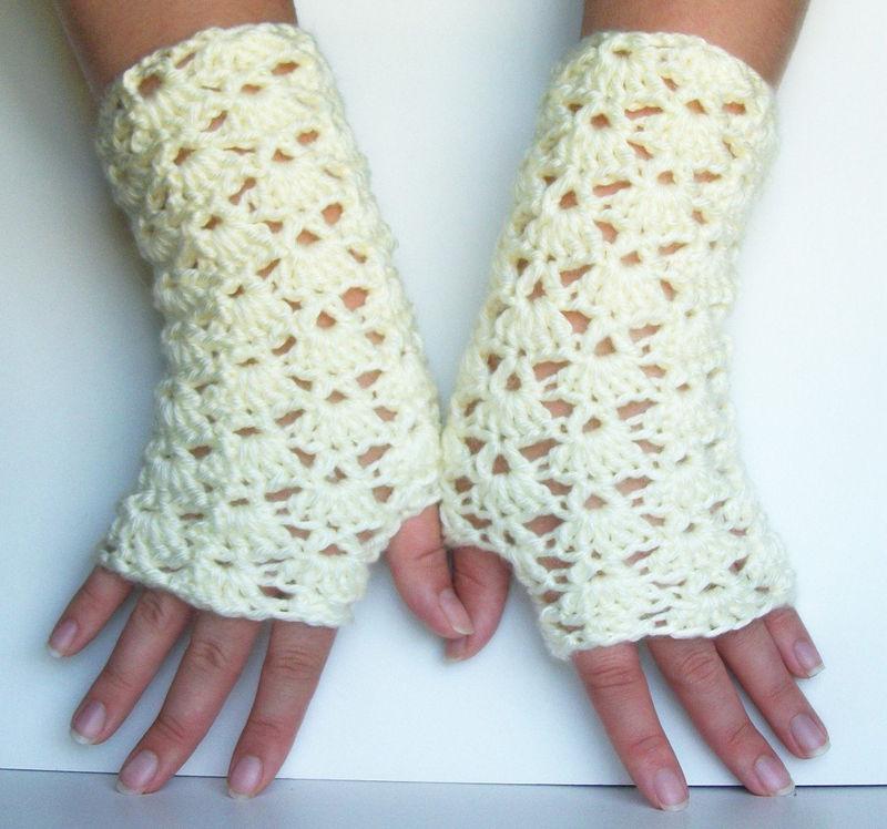 Gloves crochet pattern long lace shells wrist warmer pdf pattern