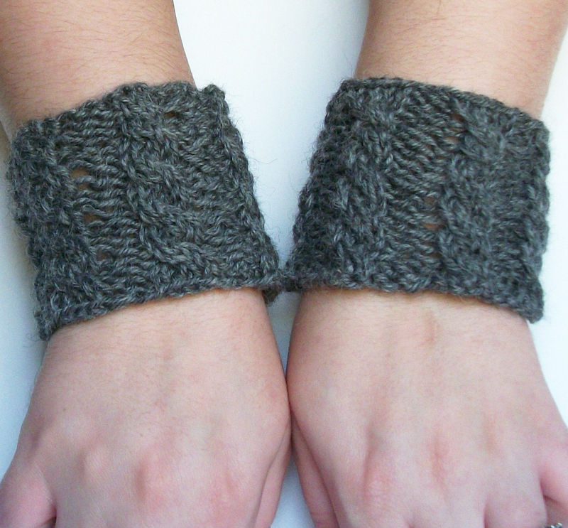 Knitting Pattern: Cabled Knit Wrist Warmers Or Wristband Or Cup Cozy - product images  of