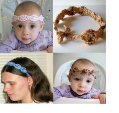PDF,Crochet,Pattern:,Headband,in,Adult,and,Baby,Sizes,supplies,pattern,crochet,headband,pdf,women,babies,beginner,stashbuster,baby,mommy_and_me,easy,1_skein,one_skein