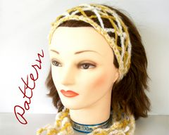 Crochet,Pattern:,Argyle,Lacy,Diamonds,Hair,Scarf,in,2,Colors,Charted,and,Written,Pattern,crochet_pattern,hair_scarf_pattern,hair_scarf_crochet_pattern,advanced_crochet_pattern,Lace_hair_scarf,2_color_hair_scarf,argyle_crochet_pattern,lace_argyle