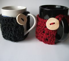Crochet,Mug,Cozy,With,Rustic,Wood,Button,coffee mug cozy, mug cozy, crochet, hot chocolate cozy, tea cozy, textured, soft, wood button, handmade