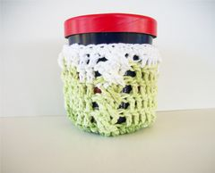 Pint Size Ice Cream Cozies Crochet Cable Cozy With Built In Coaster Cotton - product images 3 of 12
