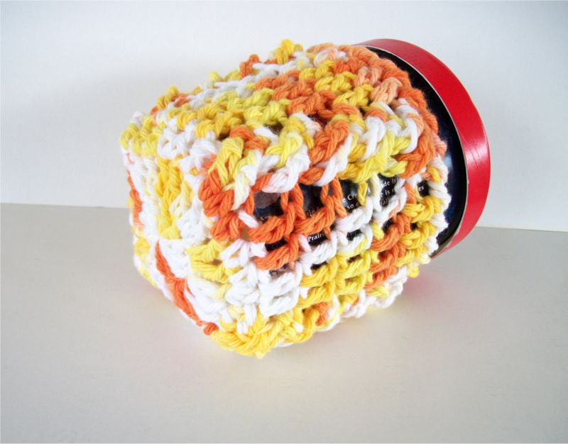 Pint Size Ice Cream Cozies Crochet Cable Cozy With Built In Coaster Cotton - product images  of