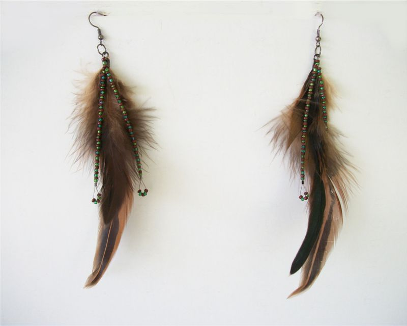 Beaded Feather Earrings Long Dangle Earrings Shoulder Dusters - product images  of