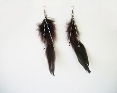 Beaded Feather Earrings Long Dangle Earrings Shoulder Dusters - product images 9 of 12