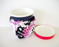 Pint Size Ice Cream Cozies Crochet Cable Cozy With Built In Coaster Cotton - product images 1 of 12