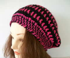 Semi,Lacy,Spiral,Striped,Slouch,Hat,2,Colors,Crochet hat,lacy slouch hat, crochet tam,lace slouch hat, spiral hat, 2 color hat, custom hat, color choice
