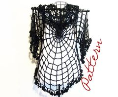 Crochet,Pattern:,Spiderweb,Lace,Top,With,Ruffled,Edges,Goth,crochet pattern,  halloween clothing pattern, spiderweb clothing pattern, spiderweb lace pattern, plus size shrug crochet pattern, plus size cardigan pattern, lace jacket pattern, ruffled collar, ruffled sleeves, goth clothing