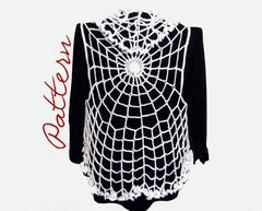 PDF,Crochet,Pattern:,Spiderweb,Lace,Vest,With,Ruffled,Edges,Goth,Halloween,Pattern,Partially,Charted,crochet pattern, halloween clothing pattern, spiderweb clothing pattern, spiderweb lace pattern, plus size vest crochet pattern, ruffled collar, goth clothing, Lace vest pattern, vest crochet pattern