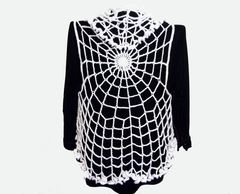 Spiderweb,Ruffled,Lace,Vest,Goth,Crochet,handmade clothing, halloween clothing, spiderweb clothing, spiderweb lace, plus size vest, lace vest ruffled collar, goth clothing