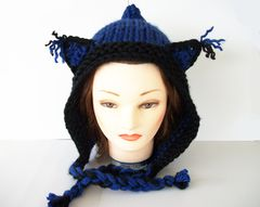 Hand,Knit,Pixie,Hat,Animal,Wolf,Ears,Cat,knit pixie hat, fantasy hat, costume hat, hand knit hat, pixie hat, wolf hat, cat hat, wolf ears hat, cat ears hat, black and blue hat