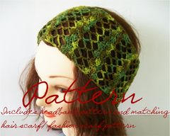 Lace,Headband,Crochet,Pattern,-,Includes,Hair,scarf,and,Fashion,Scarf,Patterns,crochet_pattern, lace_headband_pattern, lace_hair_scarf_pattern, lace_fashion_scarf_pattern,