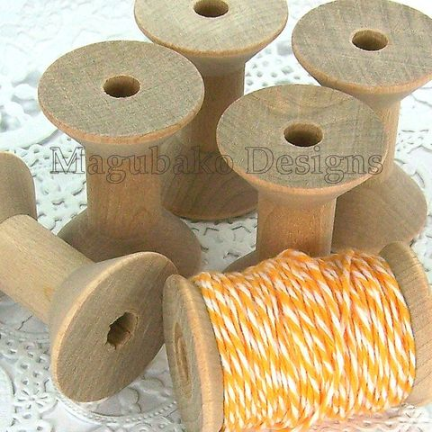 6,Wooden,Spool,-,Medium,Size,wooden spools, natural spools, rustic spools, sewing bobbins, medium wooden spools, storage supplies, sewing spools, unfinished wooden spools, craft spools, vintage style spools