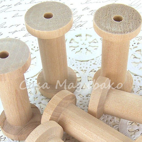 Large,Wooden,Spool,-,Set,of,6,wooden spools, natural spools, rustic spools, sewing bobbins, large wooden spools, storage supplies, sewing spools, unfinished wooden spools, craft spools, vintage style spools