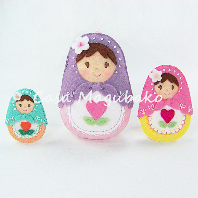 Matryoshka Doll Felt Pattern - PDF File - DIY Ornament or Embellishment - product images  of