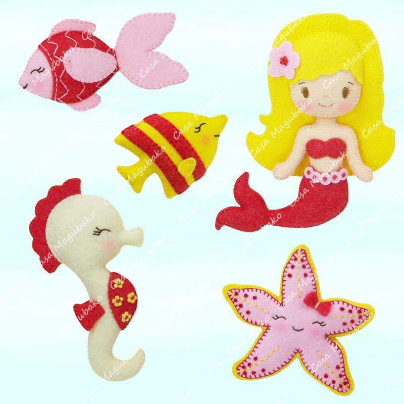 Mermaid and Other Sea Creatures Sewing Pattern - PDF File - Ornament, Embellishment or Soft Toy Tutorial - product images  of