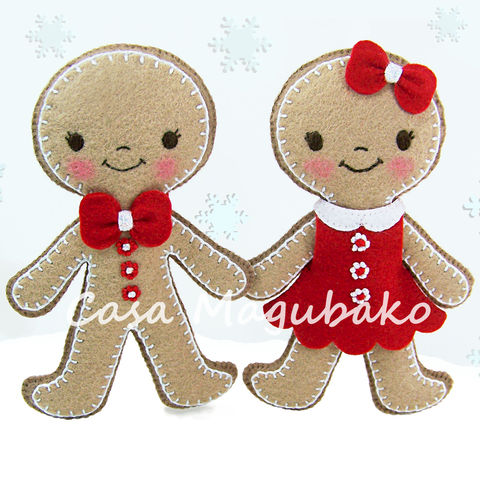 Gingerbread,Boy,&,Girl,Ornament,Digital,Sewing,Pattern,-,DIY,PDF,File,Tutorial,sewing digital pattern, gingerbread boy tutorial, gingerbread girl pattern, Christmas Ornament templates, sewing ornament pattern, PDF File, Christmas sewing tutorial, sewing instructions, handstitched felt, DIY felt ornaments, felt ornaments, felt soft t