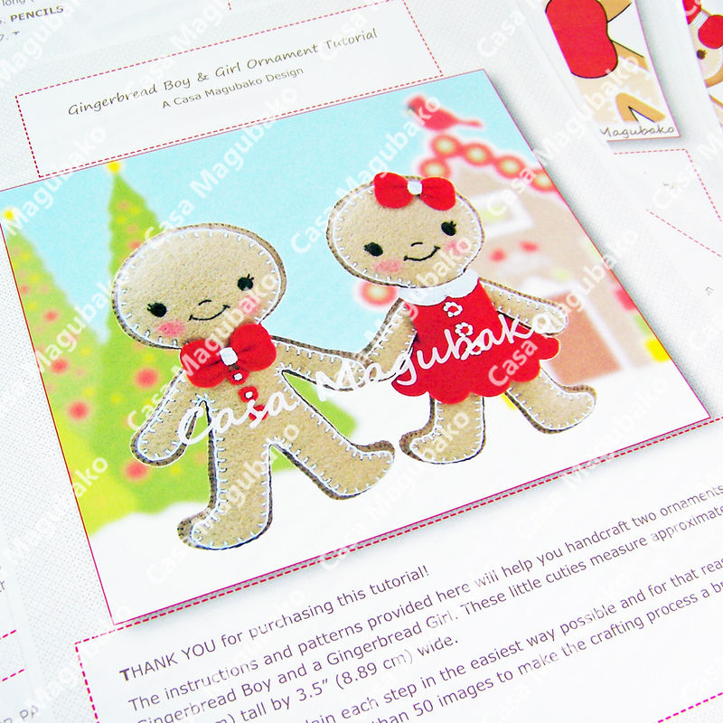 Gingerbread Boy & Girl Ornament Digital Sewing Pattern - DIY - PDF File Tutorial - product images  of