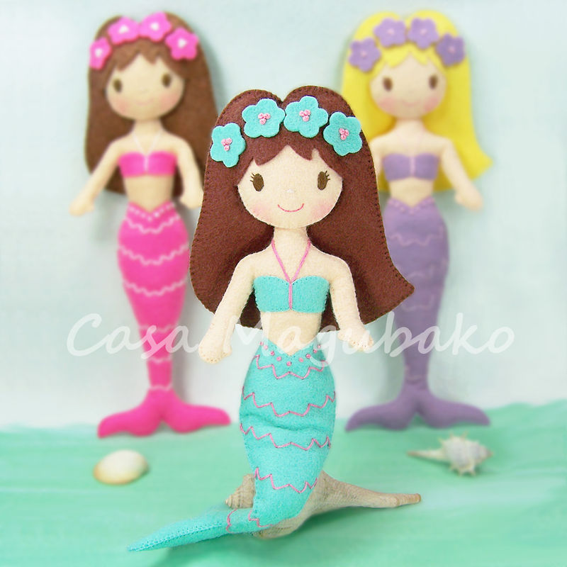 Felt Mermaid Digital Pattern - DIY Hand Stitched Doll - PDF File Tutorial - product images  of