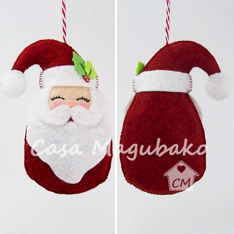 santa ornament sewing tutorial diy hand stitched christmas ornament pdf file pattern product