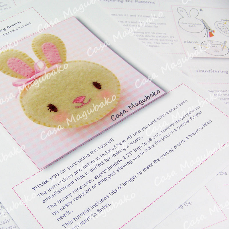 Felt Bunny Brooch - Digital Sewing Pattern – PDF File  - product images  of