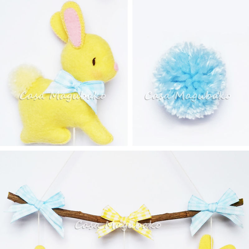 Bunny Wall Hanging: A PDF Sewing Pattern - Nursery Mobile DIY - product images  of