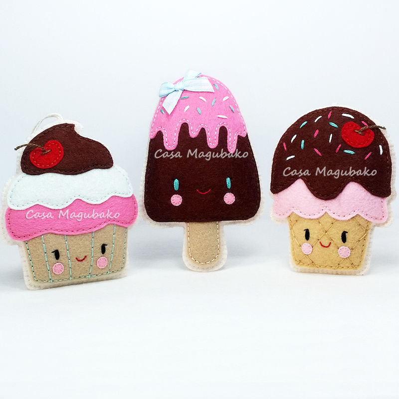 Sewing Pattern: Cupcake, Ice Cream Cone and Ice Pop - PDF File - Digital Pattern  - product images  of
